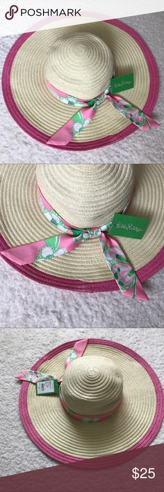 Lilly Pulitzer Floppy Straw Sun Hat Brand new with tags!  Small snag as shown in pictures, not very noticeable. Lilly Pulitzer Accessories Hats