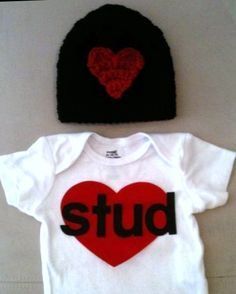 "Valentine's Day outfit for baby boys - ""Stud"" onesie and matching crochet black w/ red heart beanie hat on Etsy, $39.00"