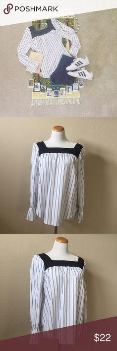 """• One-of-a-Kind • White Stripe Flare Ruffle Top • From Shein! I believe that this is a size small or a """"one size fits all"""" type of thing. In my opinion, I would say that small-medium would work great in this top! Maybe even a large because the collar/sleeve is elastic. The fit is very elegant and pretty and I would keep, but it's just a bit too big. Really, really cute with skinny jeans and flats! Reasonable offers considered! 👕👟 Shein Tops"""