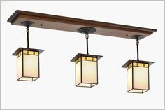 Craftsman Style Kitchen Island light with 3 stain glass shades and oak ceiling board. Great for Large Islands. Made in the USA. Dining Room Light Fixtures, Dining Room Lighting, Pendant Light Fixtures, Kitchen Lighting, Craftsman Dining Room, Craftsman Style Kitchens, Island Pendant Lights, Island Lighting, Craftsman Lighting