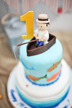 Top of Cake from a Gone Fishing Birthday Party via Kara's Party Ideas | KarasPartyIdeas.com (18)