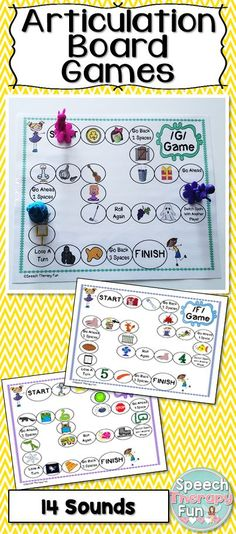 Articulation Board Games Include 14 different game boards with the following initial sounds: K, G, F, V, S, Z, L, R, SH, CH, TH, Blends (L, R, S).