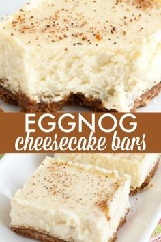 Eggnog Cheesecake Bars - Creamy rich eggnog cheesecake with a spicy gingersnap cookie crust. Eggnog Cheesecake Bars - Creamy rich eggnog cheesecake with a spicy gingersnap cookie crust. Köstliche Desserts, Holiday Baking, Christmas Desserts, Christmas Baking, Delicious Desserts, Dessert Recipes, Recipes Dinner, Breakfast Recipes, Christmas Parties