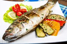 Seebarsch mit gegrilltem Gemüse