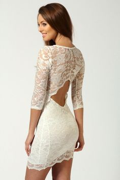 Nina Scallop Detail Open Back Lace Bodycon Dress by boohoo --- sexy, a must wear for my man :)