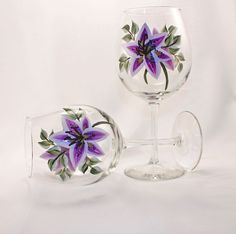 Hand Painted Lavender Lily Wine Glasses by Allthatglass1 on Etsy, $22.00