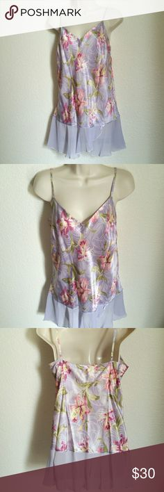 """100% SILK Floral Nightie - NWT August Silk new with tags short chemise nightgown with sheer flounce. The store price was $42. Adjustable shoulder straps. Lovely, soft, iris floral pattern, new with tags, never worn. 100% silk Size Medium. 20"""" pit to pit;  22"""" side length (from underarm) August Silk Intimates & Sleepwear Chemises & Slips"""