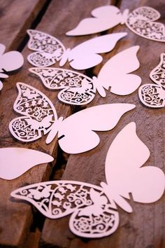 These laser cut place cards are perfect for weddings, hen parties, fancy evening dos, christenings or tea parties. They come in two shapes: butterfly and heart. The butterfly shape come in two colours: cream and white. The butterflies measure approximately 11cm x 7cm and the hearts measure approximately 6cm squared. The place cards come in packs of 10.