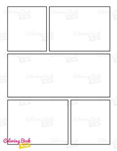 A blank comic book template to create great stories for kids and adults. One of the most used panel layouts in all comics around the world. One repeatable layout of 5 panels, 120 pages of the same template. This arrangement of panels works perfectly in all cases, both when we create action comics, as well as humorous or adventure comics. The 5-panel layout will be perfect when we are just starting o Blank Comic Book, Comic Page, Comic Books, Stories For Kids, Great Stories, Comic Book Template, Draw Your, Easy Drawings, Layouts