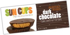 Sun Cups - Peanut/Treenut/Soy/Gluten free chocolate cups. Comes in dark chocolate, milk chocolate, mint, and caramel. Delicious!
