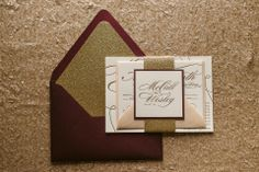 LAUREN Suite Glitter Package, sparkling fall wedding invitations, wine, coral, blush, gold, 2014 fall wedding trends, letterpress wedding invitations, glitter wedding invitations