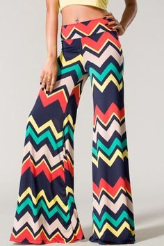 Chevron printed multi color palazzo pants