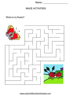 Butterfly to flowers maze (kids activity, visual skills, hand-eye coordination)