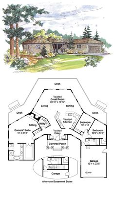Shingle House Plan chp-20051 at COOLhouseplans.com | Total living area: 2292 sq ft, 3 bedrooms & 2 bathrooms.
