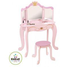 Kaptafel Prinses (roze) met krukje - Kidkraft