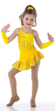 RIO Jazz Tap YELLOW No Mitts Asymmetrical Ballet Dance Costume Child & Adults #Cicci
