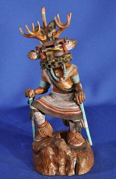 Hopi Deer Kachina by Verlan Fred, Contemporary Hand Carved and Painted Cottonwood Root 9 inches From a private estate collection.  $990.00. AAIA, Inc. deals in antique & contemporary Native American Indian art and artifacts. We Buy, Sell, Consign, Appraise, Restore & Research. #Antique #American #Indian #Art (949) 813-7202 mwindianart@gmail.com