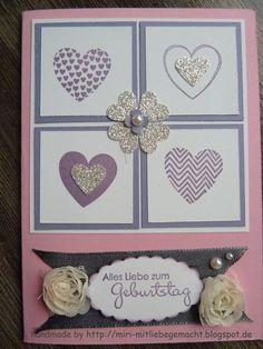 Geburtstagskarte Stampin Up mit Hearts a Flutter und Stanze kleines Herz