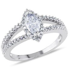 7/8 CT. T.W. Marquise Diamond Split Shank Ring in 14K White Gold - Save on Select Styles - Zales