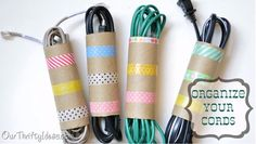 Clever Storage Using Repurposed Items :: toilet paper rolls are great for cord storage