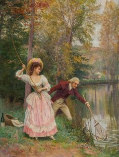 View Romantic Catch by Jules Girardet on artnet. Browse upcoming and past auction lots by Jules Girardet. Victorian Paintings, Victorian Art, Illustrations, Illustration Art, Decoupage, Painted Cottage, Painting People, Great Paintings, Rococo Style