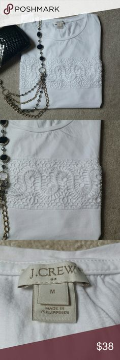 "*J.Crew White Sleeveless Lace Top* *Great Condition!! Great for business casual or casual weekend. Length: 24"", Pit-to-Pit: 18.5"". 100% Cotton. Lace: 100% Pokyester.  Comes in Navy (See Listing).Ask any questions. Happy Poshing!!* J. Crew Tops"