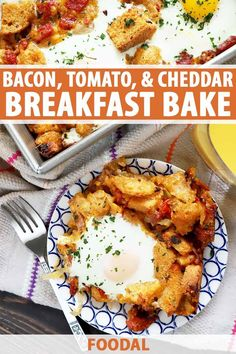 Our easy-to-make bacon, tomato, and cheddar breakfast bake is a fully loaded, all-in-one breakfast that will brighten up any morning. There's nothing easier than throwing all of your ingredients in one baking dish, right? The oven does all the work. Get the recipe now. #easybreakfastrecipes #breakfastcasserole #foodal Brunch Recipes, Breakfast Recipes, Dinner Recipes, Brunch Ideas, Breakfast Ideas, Make Ahead Breakfast Casserole, Breakfast Bake, Kitchen Recipes, Cooking Recipes