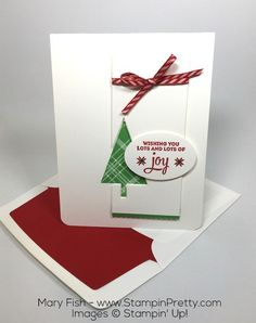 """""""Plenty of white"""" often dictates thefoundationof my simple & pretty cards, including this holiday card using Stampin' Up! Lots of Joy stamp set."""