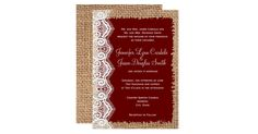 This rustic wedding invitation is perfect for any country western wedding.  It features a rustic country printed burlap background on both sides of the invitation.  The invitation lettering is printed on an tattered maroon red rectangle with a printed lace embellishment on the side.  The burlap and the lace are just printed designs.  It is not actual burlap fabric or actual lace.    Just add your own wedding details to the invite. If you need to change the size or font of the text, you can…