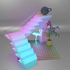 Vaporwave 3D Mockup