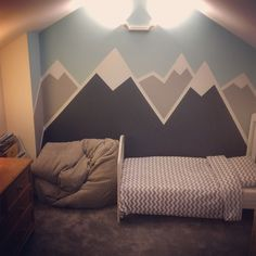 Hand painted mountain mural