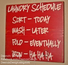 Laundry Schedule, Laundry Room Decor, Laundry Sign, Distressed Wood Signs, Wood Signage, Distressed Wall Decor