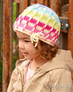 *********** This listing is for a CROCHET PATTERN in PDF format. *********** A colorful, happy hat for boys, girls, babies, grown ups, and the