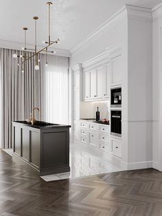 "APARTMENT COMPLEX ""TITUL"" MOSCOW - Dezign Ark (Beta) Luxury Kitchen Design, Kitchen Room Design, Home Decor Kitchen, Interior Design Kitchen, Floor Design, House Design, Apartment Complexes, Classic Interior, Cuisines Design"