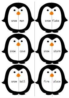Adorable Penguin Compound Words Winter Activity