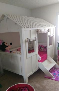 This is our most popular kids bed on Pinterest. The bed shown fits a twin and is fun fun fun for the little ones:) You will enjoy the craftsmanship with easy set up. 8 pins slide into place and 8 scre