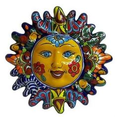 Mexican folk art - Talavera 12 inch Sun Face with Rays Wall Decor, Detailed, Assorted Colors