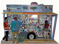 TACO NIGHTS  mixed media on paper  cm 42x30  original monotype  #fabiocoruzzi #taco #night #taconights #coruzziart #california #usa #losangeles #los #angeles #la #angels #food #truck #tacotruck #mexico #messico #socal #art #kunst #graffiti #streetfood