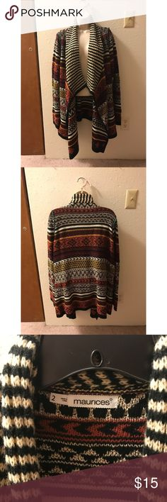 XXL Maurices BOHO Cardigan This boho print cardigan is perfect for this upcoming fall 🍁🍂 Keeps you warm but not overheated. Full of mixed prints from cabin fair-isle design to Aztec triangles. There is a pop of blue on the shoulders and a relaxed neck that goes all the way to the bottom of the garment. NOTE: snag in the left arm (see pictured above) NEVER BEEN WORN! Maurices Sweaters Cardigans