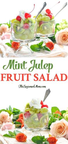 Mint Julep Fruit Salad is an easy side dish for your next bridal shower or Kentucky Derby party! Derby Day   Party Food   Salad Recipes   Bourbon #bourbon #fruitsalad #TheSeasonedMom #KentuckyDerby #DerbyDay Kentucky Derby Food, Bourbon Kentucky, Kentucky Derby Party Ideas, Mint Recipes, Salad Recipes, Bourbon Recipes, Fruit Recipes, Copycat Recipes, Brunch Recipes