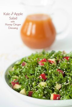 Kale and Apple Salad with Honey Ginger Dressing - healthy , fresh and utterly delicious? If you look those words up in the dictionary, you'd see a picture of this salad! thecafesucrefarine.com