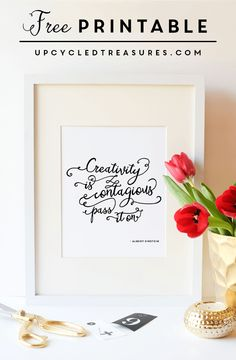 """Download this FREE Chalkboard Printable """"I am creative, you can't expect me to be neat too"""". 