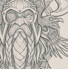 sketches design Odin's Ravens // Pencils for a cool collaboration project in the works. Art Viking, Viking Symbols, Viking Warrior, Viking Tattoo Sleeve, Viking Tattoos, Tattoo Sketches, Tattoo Drawings, Art Drawings, Art Sketches