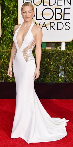 Kate Hudson ~~~Taking a page from J.Lo's style playbook, Kate Hudson, had jaws dropping when she hit the arrivals line in a daring white Versace gown with cut outs and a little bit of bling. Kate Hudson, Celebrity Red Carpet, Celebrity Dresses, Celebrity Style, Celebrity Photos, Celebrity News, Beautiful Dresses, Nice Dresses, Formal Dresses