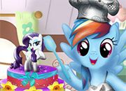 Rainbow Dash Cooking Cake