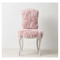 Pink Faux Fur Cabriole Legs Desk Chair ❤ liked on Polyvore featuring home, furniture, chairs, cabriole legs furniture, pink chair, faux fur chairs and pink furniture
