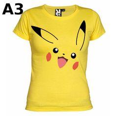 """T-shirt Jaune pour Femme (différentes tailles disponibles), logo """"Pikachu"""" - Format d'impression au choix: A3 ou A4"""