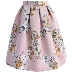 Chicwish Blossoming Garden Jacquard Skirt in Pink ($45) ❤ liked on Polyvore featuring skirts, pink, box pleat skirt, pink knee length skirt, flower skirt, jacquard skirt and pink skirt