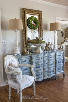a blue french provincial dresser, painted furniture