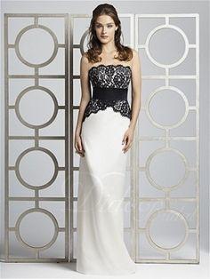 Sheath Strapless Floor-length Satin Bridesmaid Dress - Didobridal